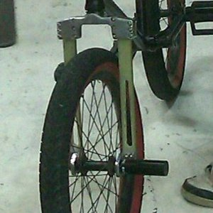 The Flexible BMX Fork Prototype in a conventional BMX Bike.